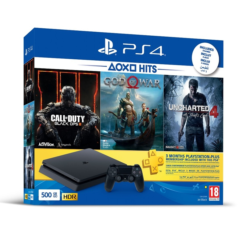 PS4 Slim 500GB Jet Black + Call Of Duty Black Ops III + God Of War + Uncharted 4 A Thief's End + 3 Months PS Plus | Consoles | PS4 | Gaming | Virgin ...