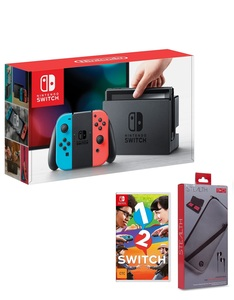 Nintendo Switch 32GB Console with Neon Joy-Con Controller + 1 2 Switch + Starter Pack
