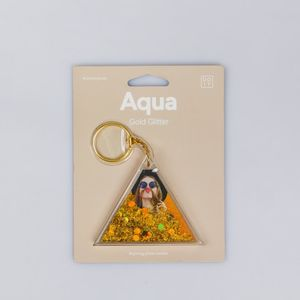 DOIY Aqua Keyring Photo Holder Gold Glitter