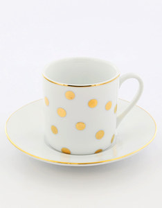 Rosanna Dots Espresso Cups with Saucers [Set of 4]