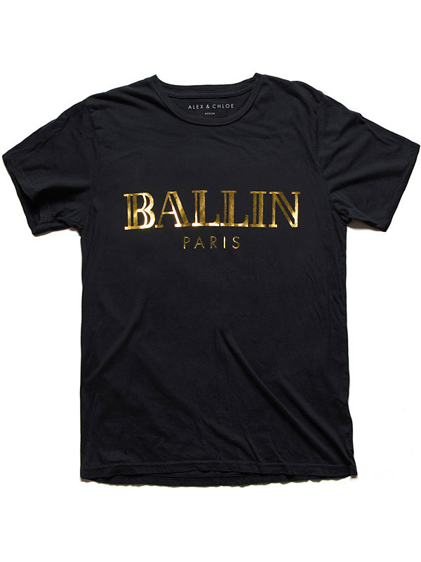 Alex & Chloe Ballin Paris Black/Gold Tshirt M
