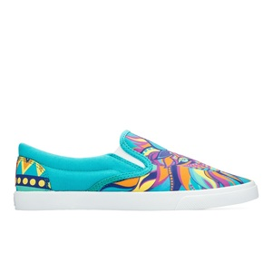 Bucketfeet Wild Blue/Pink Low Top Women's Canvas Slip-Ons