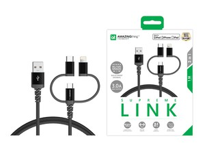 AMAZING THING SUPREME LINK 3-IN-1 BLACK CABLE