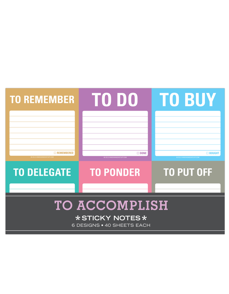 To Accomplish Sticky Note Packets