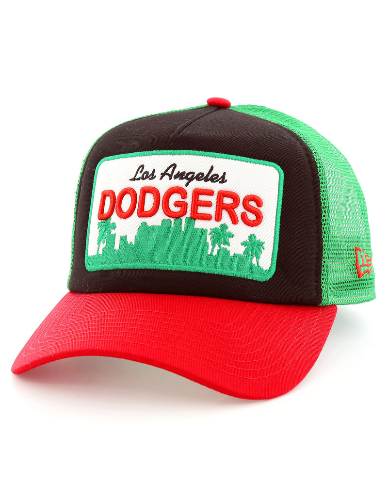New Era Patch Trucker LA Dodgers Black Scarlet Kelly Cap  a5a66ff7e7b