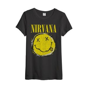 Nirvana Worn Out Smiley New Women's T-Shirt Charcoal