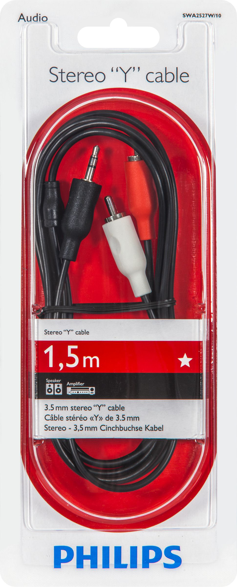 Philips 100 Series 3.5mm To 2Rca Audio Cable 1.5M
