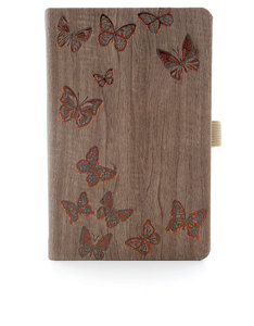 Ivory Butterfly Brown Pocket Brown Notebook