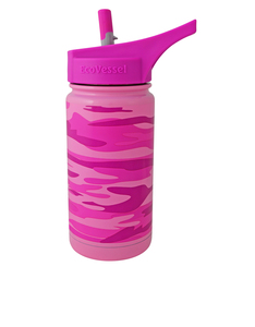 EcoVessel Frost Pink Camouflage Kids Water Bottle 400ml