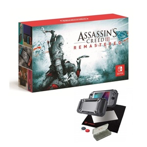 Nintendo Switch Console with Neon Joy-Con [US] + Assassin's Creed III Remastered + Snakebyte Tough:Kit Black