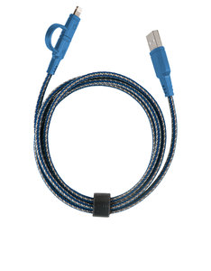 Energea Nylotough Blue Charge & Sync Lightning/Micro Cable 1.5M