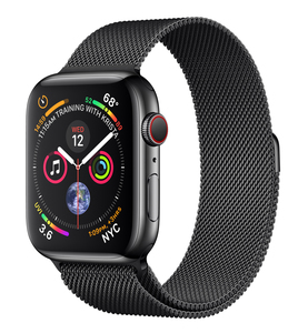 Apple Watch Series 4 GPS +Cellular 44mm Space Black Stainless Steel Case with Space Black Milanese Loop