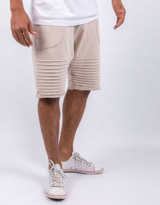 Cayler & Sons Pleated Low Crotch Sweatshorts Beige