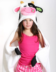 Zoocchini Casey The Cow Green Kids Hooded Towel