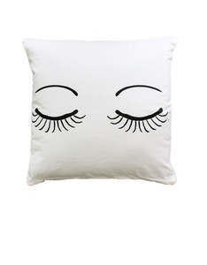 Miss Etoile Closed Eyes Cushion White 50 x 50 cm