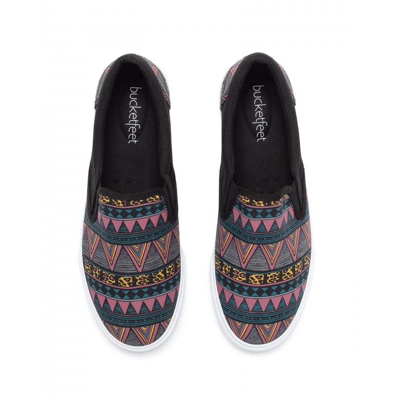 Bucketfeet Tribal Black Low Top Canvas Slip On Women'S Shoes Size 8