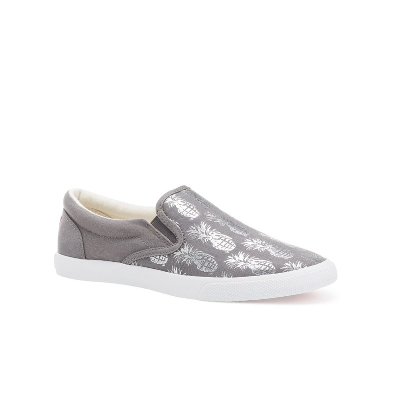 Bucketfeet Pineappleade Charcoal/Silver Low Top Canvas Slip On Women'S Shoes Size 9
