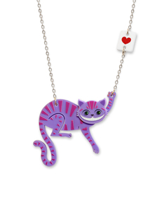 Little Moose Alice In Wonderland Cheshire Cat Purple Necklace
