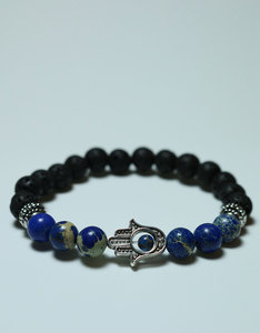 World Peace Design The Hand Of Hamsa Lava Stone/Lapis Stone Bracelet