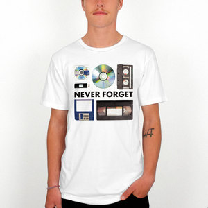 Dedicated Never Forget White Men's Printed T-Shirt