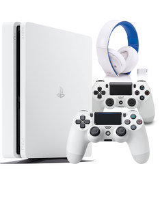 Sony PS4 Slim 500GB Glacier White + Extra Ds4 White Controller + Sony White Gaming Headphones [Bundle]