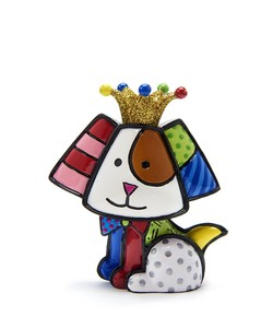 Romero Britto Anniversary Mini Figurine Dog with Gold Crown