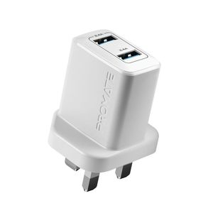Promate BiPlug White 12W Wall Charger with Dual USB Ports
