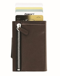 Ogon Cascade Zipper Aluminium & Leather Wallet Brown