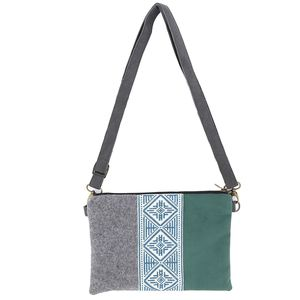 Tribalogy Shoulder Bag Blue On White Embroidery