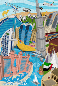 Dubai Poster - 25 Landmarks & Attractions