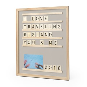 Balvi Letter and Photo Board Memories Gray Wood