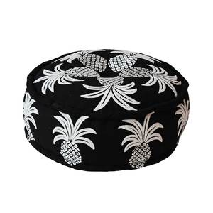 Bombay Duck Embroidered Pineapple Black/White Pouff