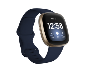 Fitbit Versa 3 Midnight/Soft Gold Aluminum Smart Watch