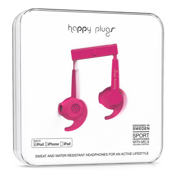 Happy Plugs Sport Mfi Cerise In-Ear Earphones