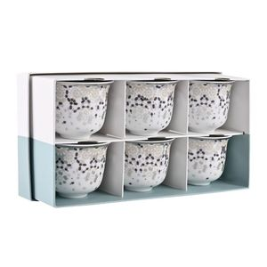 Silsal Mirrors Arabic Coffee Cups Silver Gift Box Set of 6