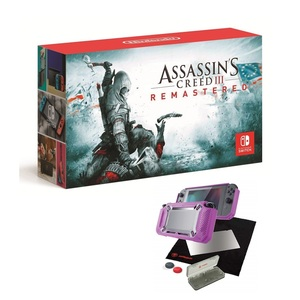 Nintendo Switch Console with Neon Joy-Con [US] + Assassin's Creed III Remastered + Snakebyte Tough:Kit Pink