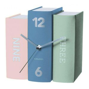 Karlsson Table Clock Book Pastel Tones Paper
