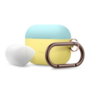 Elago Duo Hang Case Top Coral Blue/Nightglow Blue Bottom Creamy Yellow for AirPods Pro