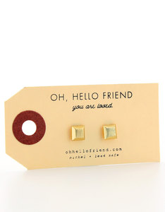 Oh Hello Friend Square 3D Gold Earrings