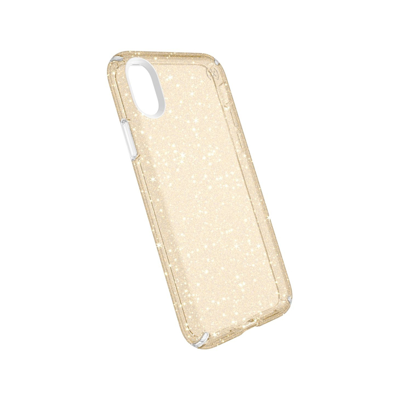 best service 999f5 6315c Speck Presidio Case Clear With Gold Glitter for iPhone X