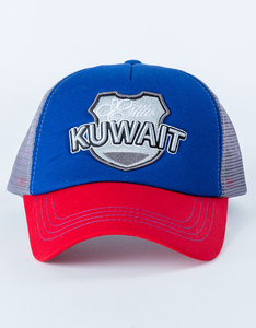B180 Kuwait1 Blue/Red/Grey Unisex Cap