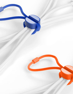 Bluelounge Pixi Small Orange/Blue Cable Ties [8 Pack]