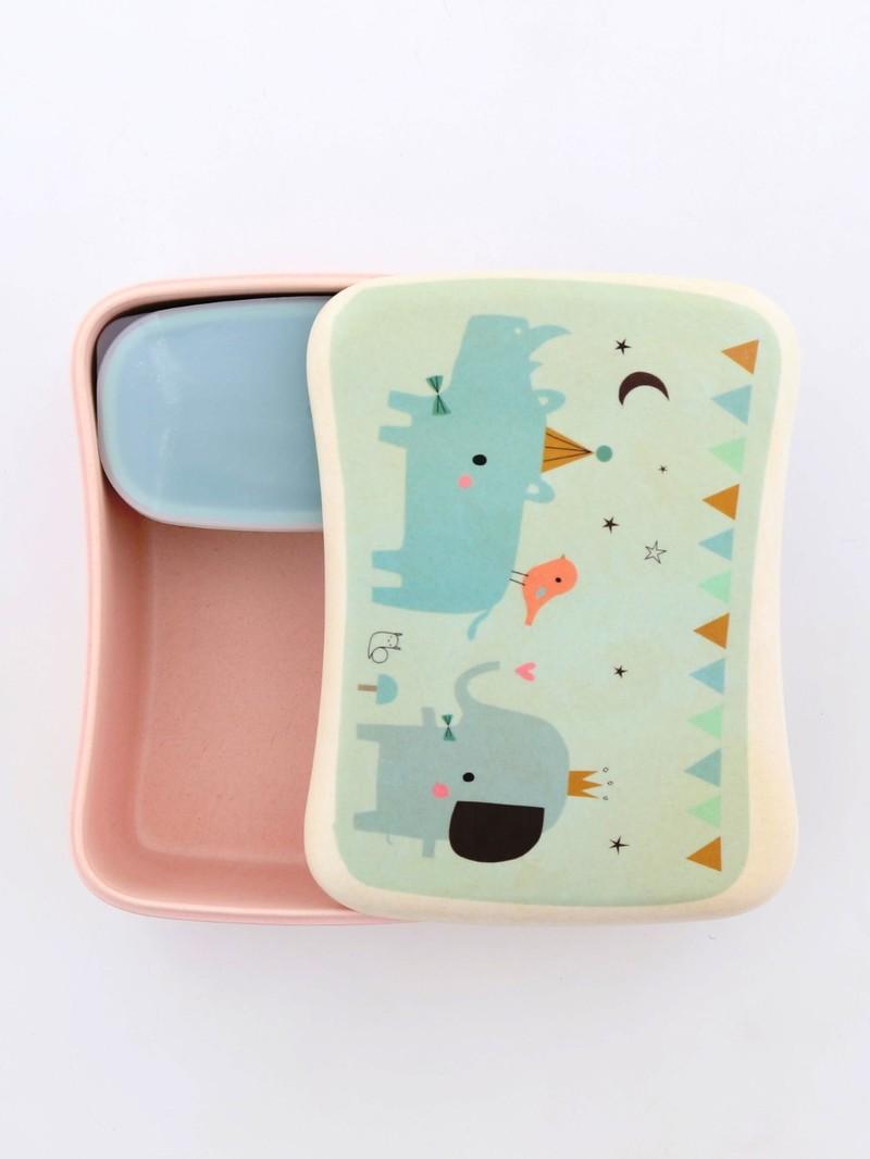 Petit Monkey Bamboo Lunchbox Rhino & Friends