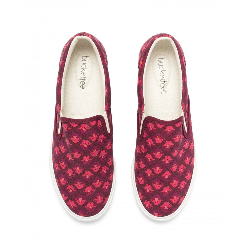 Bucketfeet Aztec Burgundy Low Top Canvas Slip On Women''S Shoes Size 9