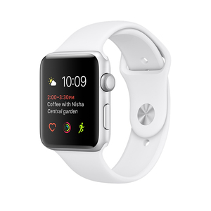 Apple Watch Series 1 Sport Band White Silver Aluminium Case 38mm