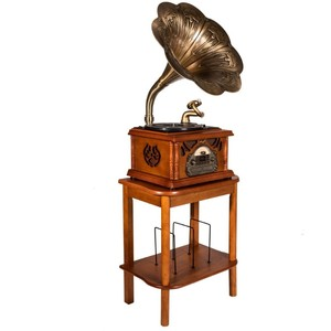 MJI Gramophone Classic Bronze Horn Turntable + Stand   Table