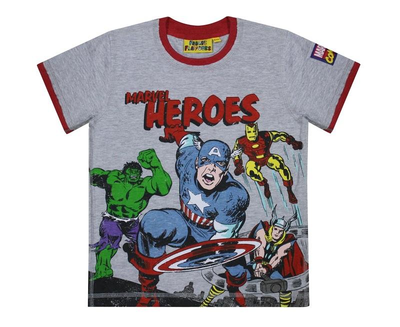 c9d66a6b2a Marvel Heroes Comic Grey Marl Boys T-Shirt