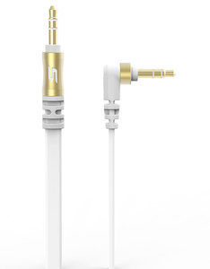 Scosche Flatout Tangle Free 3Ft Auxiliary Cable White/Gold