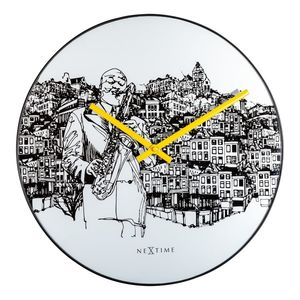 Nextime Sax City Wall Clock White