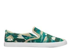 Bucketfeet Feelgood By Numbers Green/Beige Low Top Women's Canvas Slip-Ons